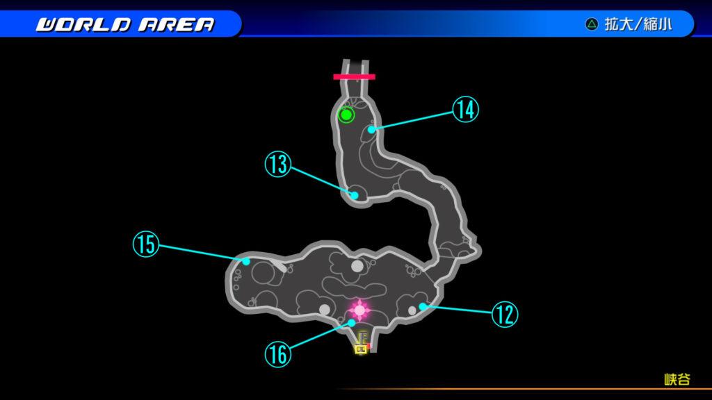 キングダムハーツ3D(HD)のワールド『シンフォニー・オブ・ソーサリー(峡谷)』で開けられるソラ編の宝箱マップです。