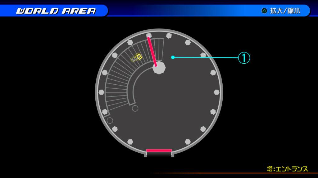 キングダムハーツ3D(HD)のワールド『シンフォニー・オブ・ソーサリー(塔:エントランス)』で開けられるソラ編の宝箱マップです。