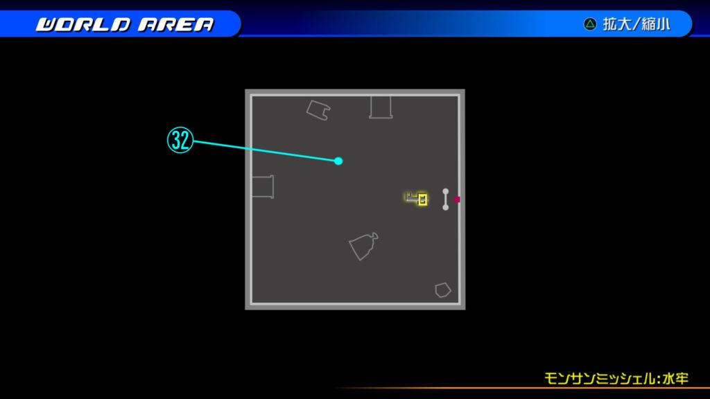 キングダムハーツ3D(HD)の『カントリー・オブ・ザ・マスケティア(モンサンミッシェル:水牢)』で開けられるソラ編の宝箱マップです。