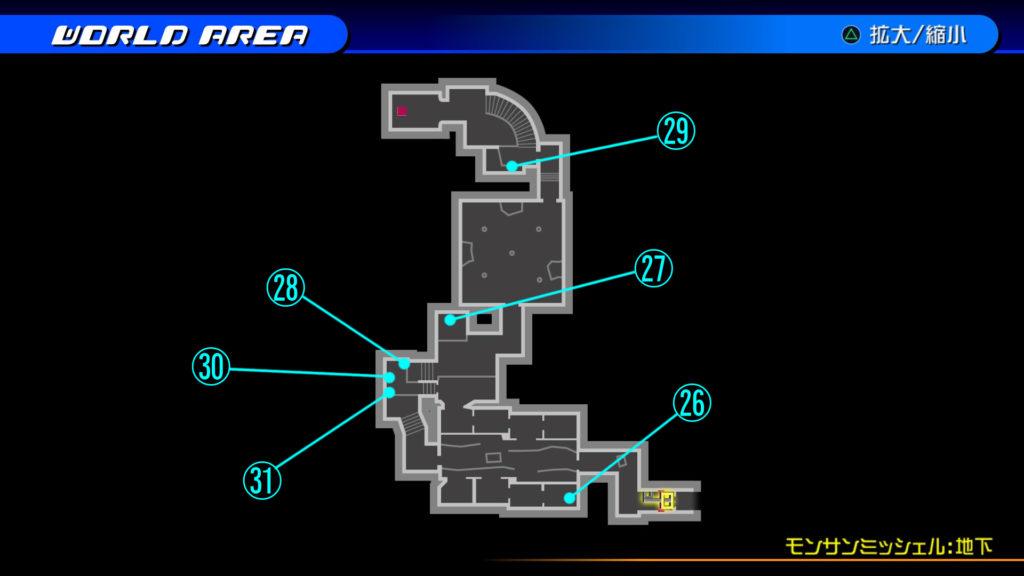 キングダムハーツ3D(HD)の『カントリー・オブ・ザ・マスケティア(モンサンミッシェル:地下)』で開けられるソラ編の宝箱マップです。