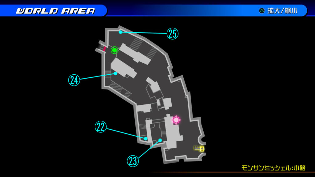 キングダムハーツ3D(HD)の『カントリー・オブ・ザ・マスケティア(モンサンミッシェル:小路)』で開けられるソラ編の宝箱マップです。