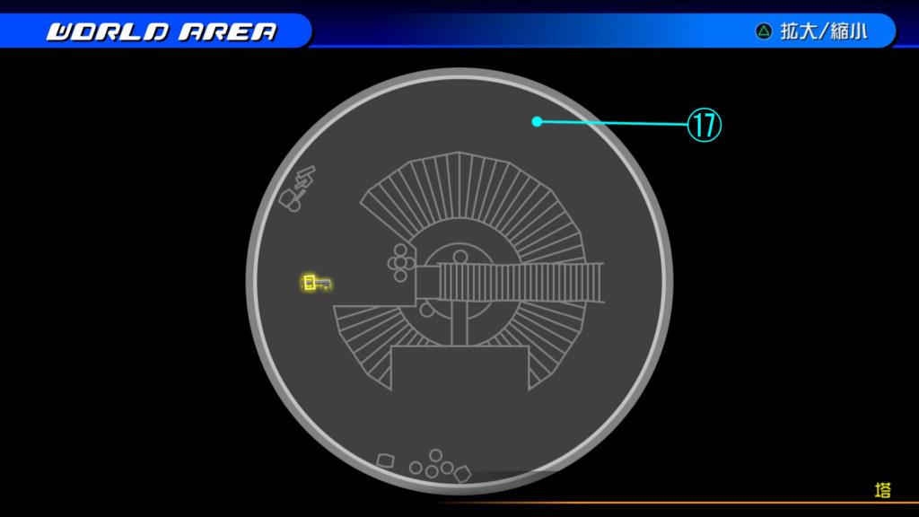 キングダムハーツ3D(HD)の『カントリー・オブ・ザ・マスケティア(塔:上層)』で開けられるソラ編の宝箱マップです。