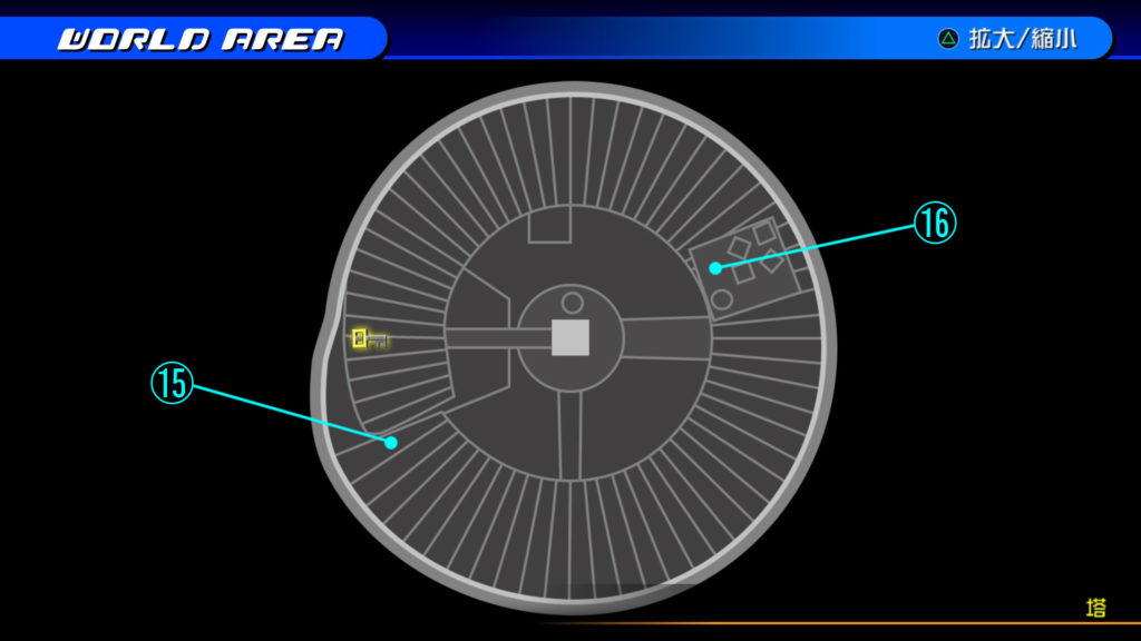 キングダムハーツ3D(HD)の『カントリー・オブ・ザ・マスケティア(塔)』で開けられるソラ編の宝箱マップです。