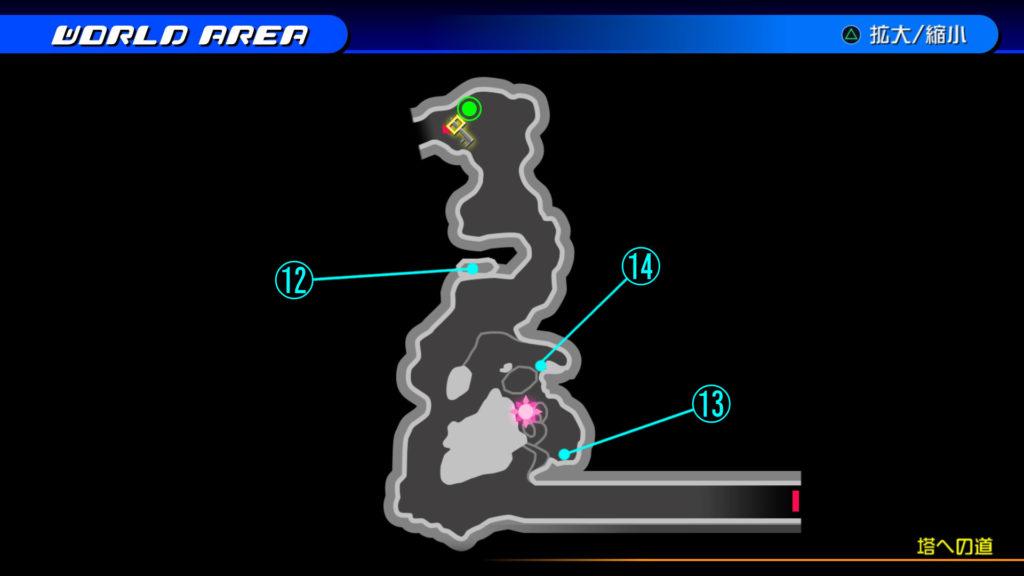 キングダムハーツ3D(HD)の『カントリー・オブ・ザ・マスケティア(塔への道)』で開けられるソラ編の宝箱マップです。