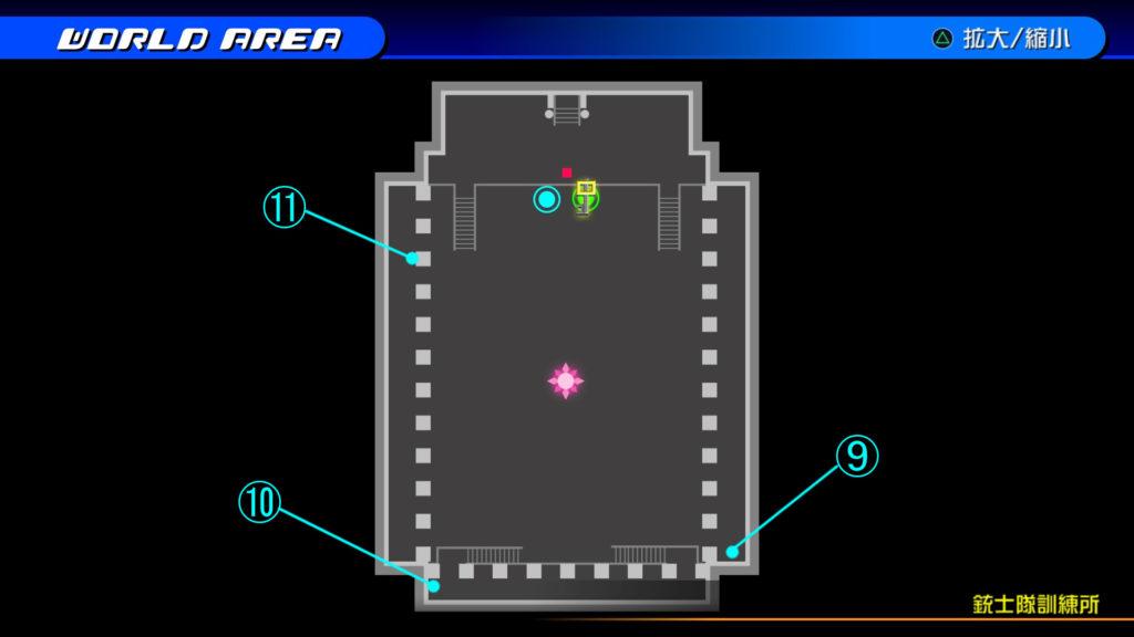 キングダムハーツ3D(HD)の『カントリー・オブ・ザ・マスケティア(銃士隊訓練所)』で開けられるソラ編の宝箱マップです。