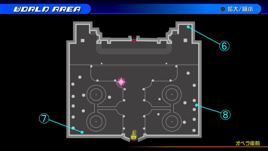 キングダムハーツ3D(HD)の『カントリー・オブ・ザ・マスケティア(オペラ座前)』で開けられるソラ編の宝箱マップです。