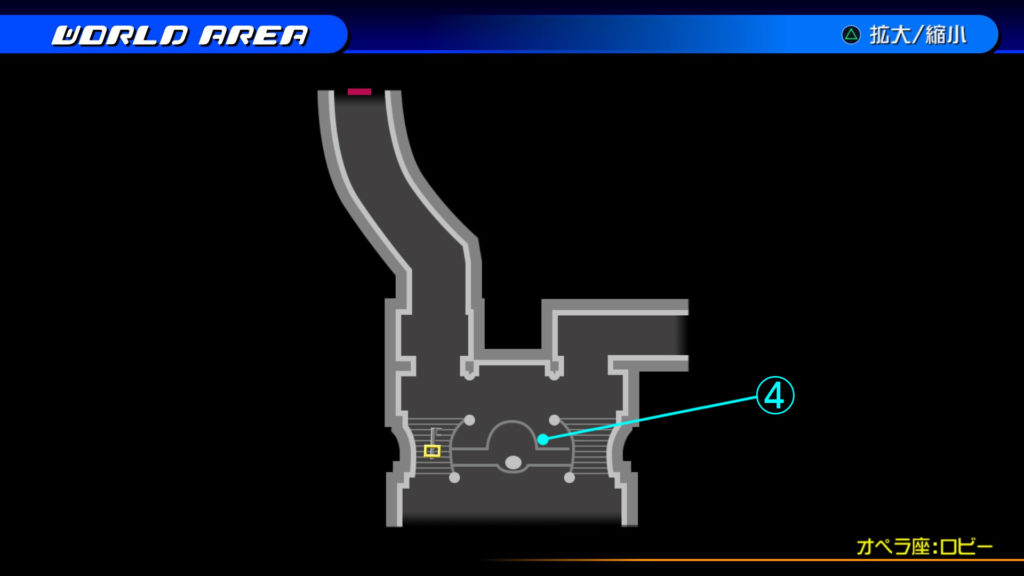 キングダムハーツ3D(HD)の『カントリー・オブ・ザ・マスケティア(オペラ座:ロビー・階段下)』で開けられるソラ編の宝箱マップです。