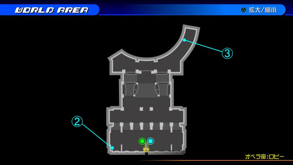 キングダムハーツ3D(HD)の『カントリー・オブ・ザ・マスケティア(オペラ座:ロビー)』で開けられるソラ編の宝箱マップです。