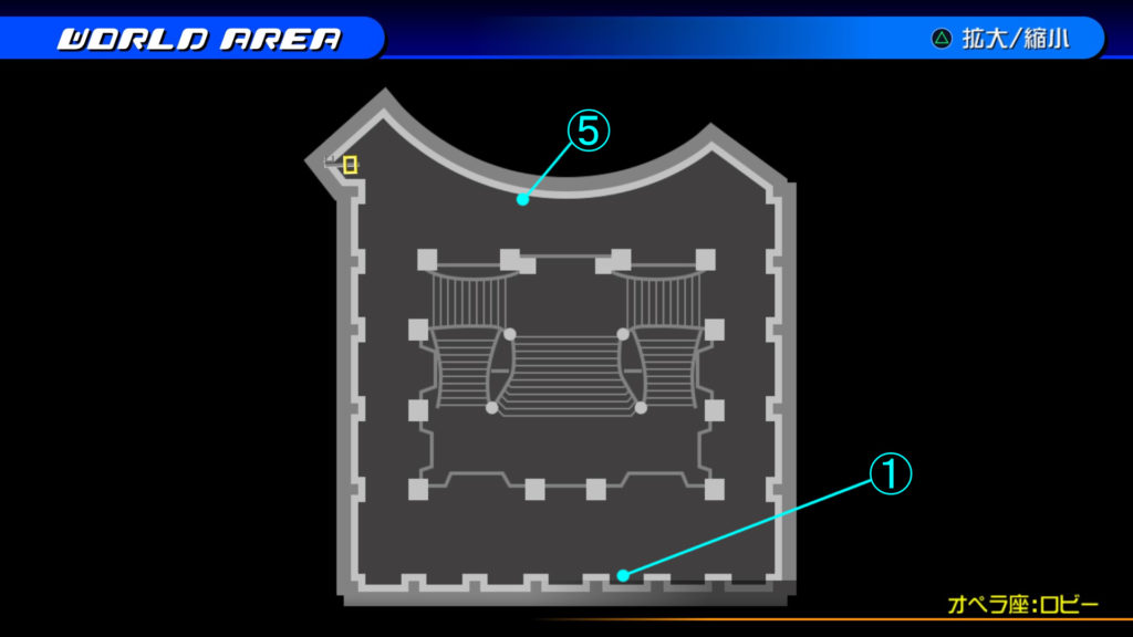 キングダムハーツ3D(HD)の『カントリー・オブ・ザ・マスケティア(オペラ座:ロビー・階段上)』で開けられるソラ編の宝箱マップです。