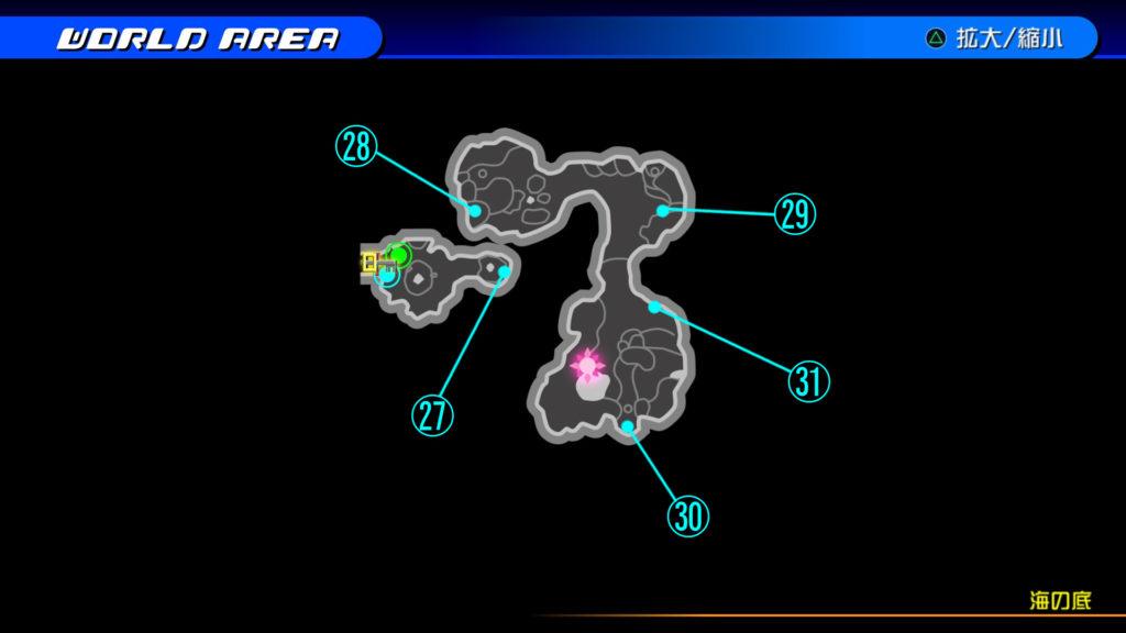 キングダムハーツ3D(HD)の『プランクスターズ・パラダイス(海の底)』で開けられるソラ編の宝箱マップです。