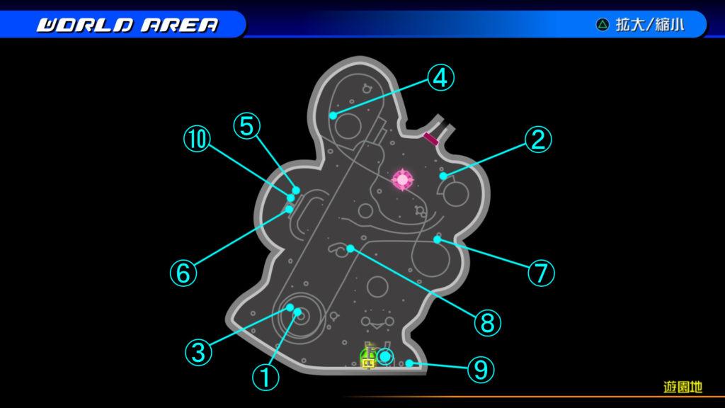 キングダムハーツ3D(HD)の『プランクスターズ・パラダイス(遊園地)』で開けられるソラ編の宝箱マップです。