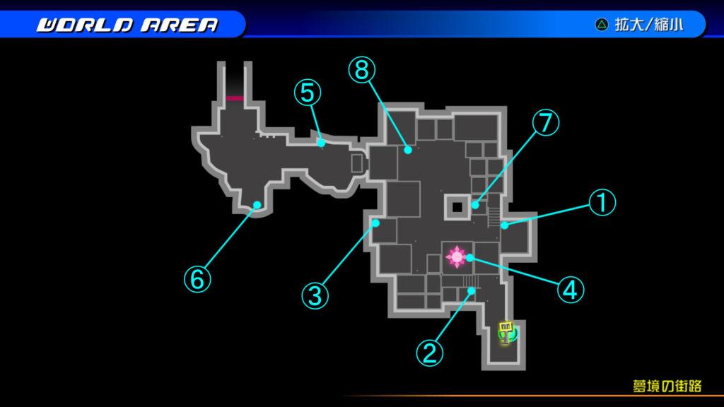 キングダムハーツ3D(HD)のワールド『存在しなかった世界(夢境の街路)』で開けられるソラ編の宝箱マップです。