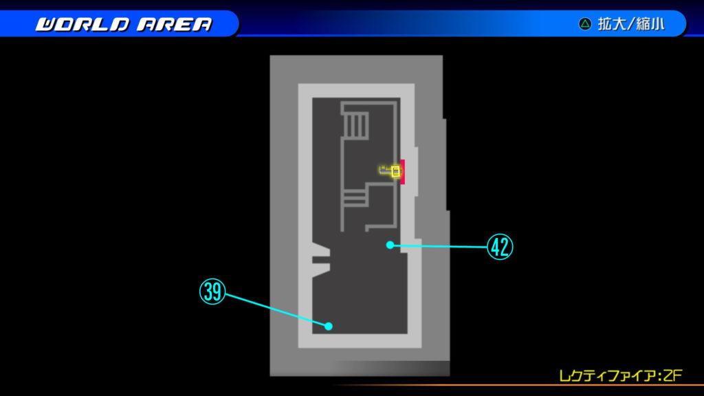 キングダムハーツ3D(HD)のソラ編で開けられる『ザ・グリッド(レクティファイア:2F・通路)』の宝箱マップです。