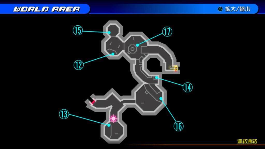 キングダムハーツ3D(HD)のソラ編で開けられる『ザ・グリッド(連絡通路)』の宝箱マップです。