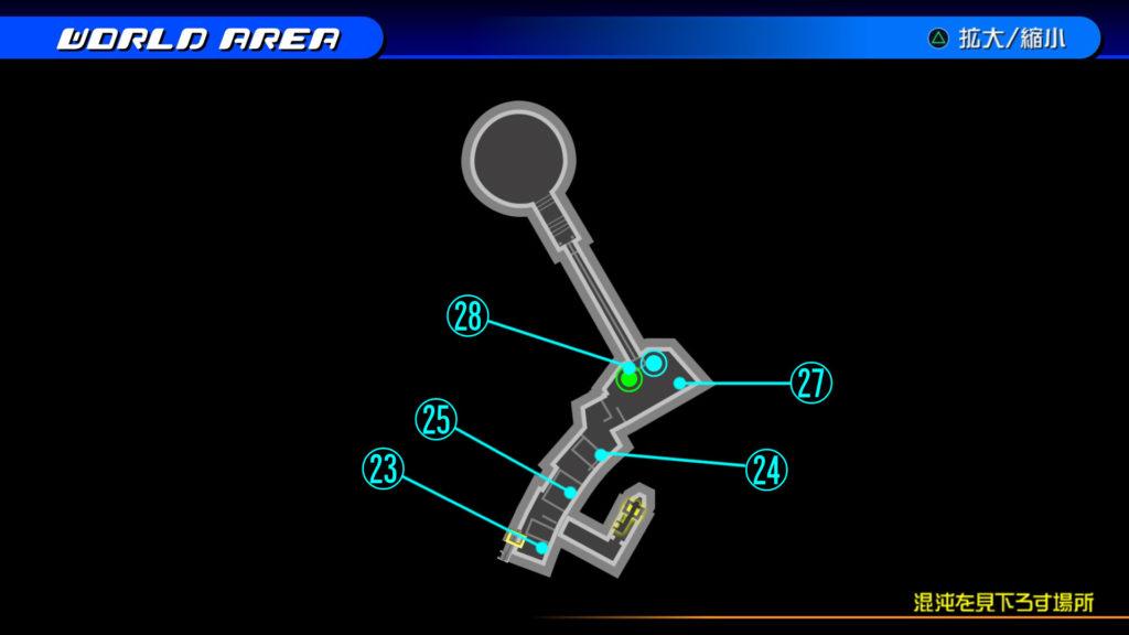 キングダムハーツ3D(HD)のワールド『存在しなかった世界(混沌を見下ろす場所:上層)』で開けられるリク編の宝箱マップです。