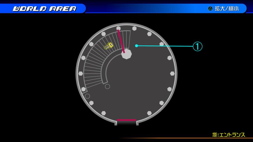キングダムハーツ3D(HD)のワールド『シンフォニー・オブ・ソーサリー(塔:エントランス)』で開けられるリク編の宝箱マップです。