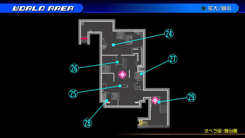 キングダムハーツ3D(HD)のワールド『カントリー・オブ・ザ・マスケティア(オペラ座:舞台裏)』で開けられるリク編の宝箱マップです。