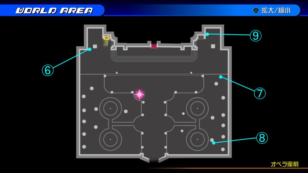 キングダムハーツ3D(HD)のワールド『カントリー・オブ・ザ・マスケティア(オペラ座前)』で開けられるリク編の宝箱マップです。