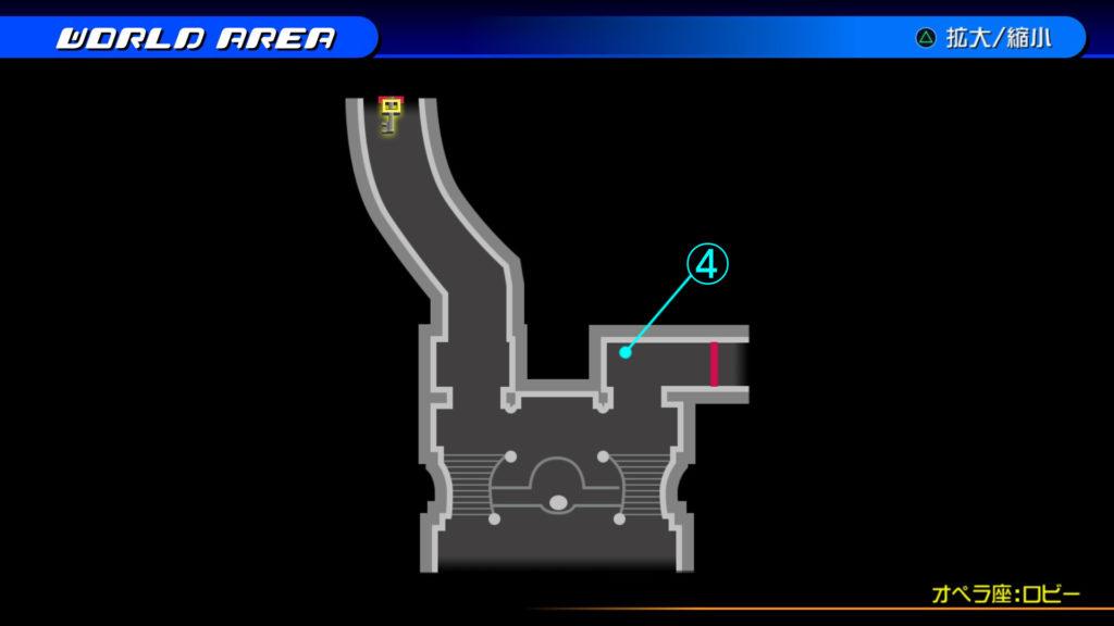 キングダムハーツ3D(HD)のワールド『カントリー・オブ・ザ・マスケティア(オペラ座:ロビー・階段下)』で開けられるリク編の宝箱マップです。