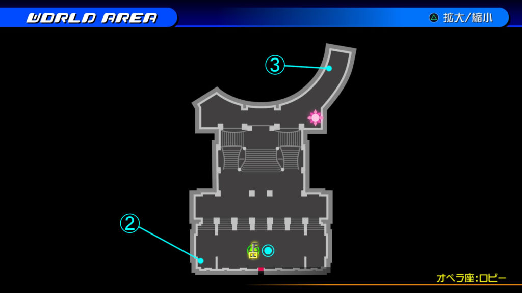 キングダムハーツ3D(HD)のワールド『カントリー・オブ・ザ・マスケティア(オペラ座:ロビー)』で開けられるリク編の宝箱マップです。