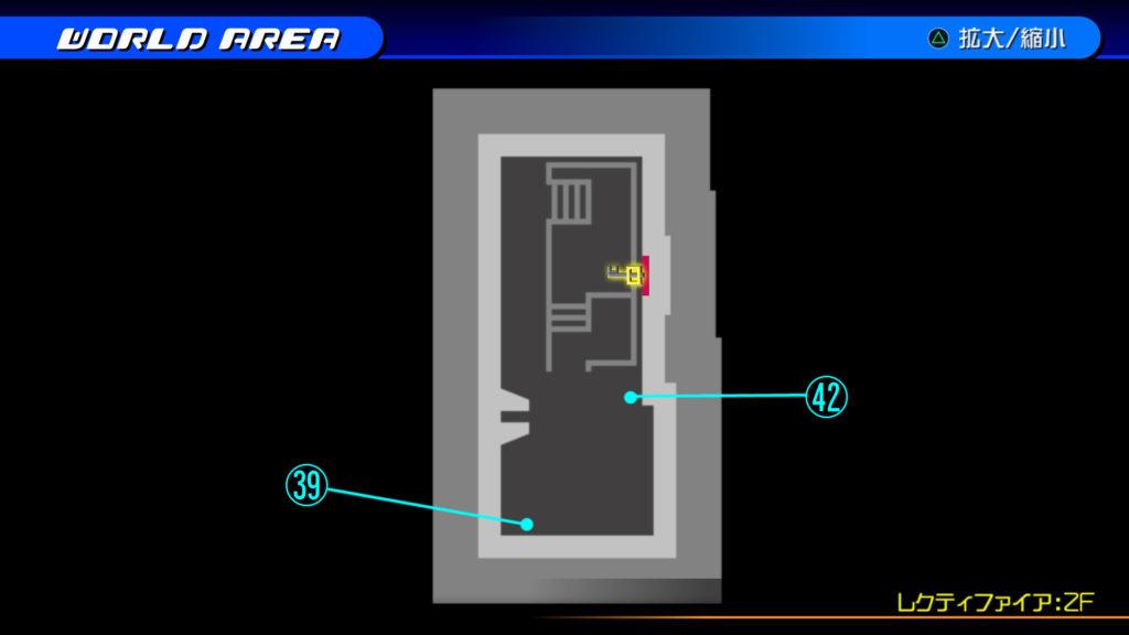 キングダムハーツ3D(HD)のワールド『ザ・グリッド(レクティファイア:2F・通路)』で開けられるリク編の宝箱マップです。