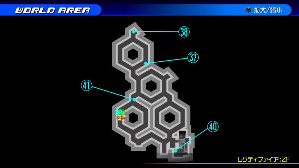 キングダムハーツ3D(HD)のワールド『ザ・グリッド(レクティファイア:2F)』で開けられるリク編の宝箱マップです。