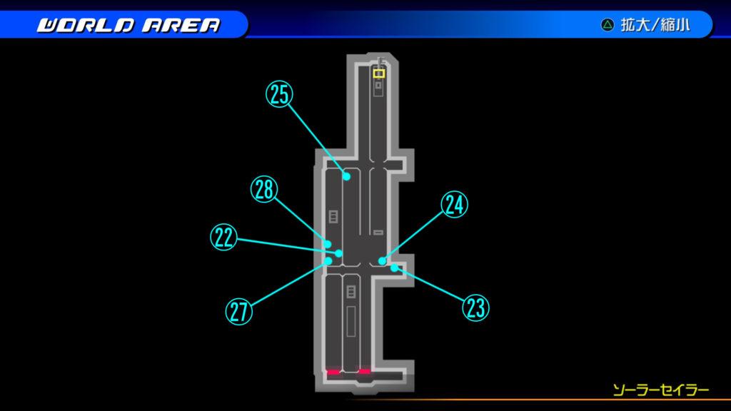 キングダムハーツ3D(HD)のワールド『ザ・グリッド(ソーラーセイラー:2F)』で開けられるリク編の宝箱マップです。