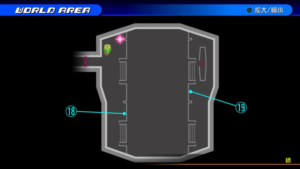 キングダムハーツ3D(HD)のワールド『ザ・グリッド(橋)』で開けられるリク編の宝箱マップです。