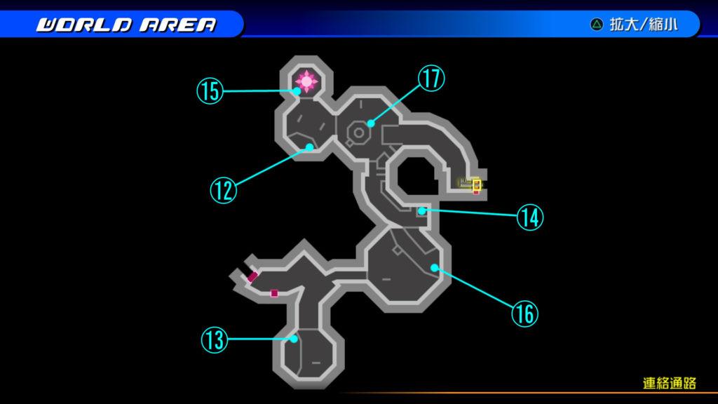 キングダムハーツ3D(HD)のワールド『ザ・グリッド(連絡通路)』で開けられるリク編の宝箱マップです。