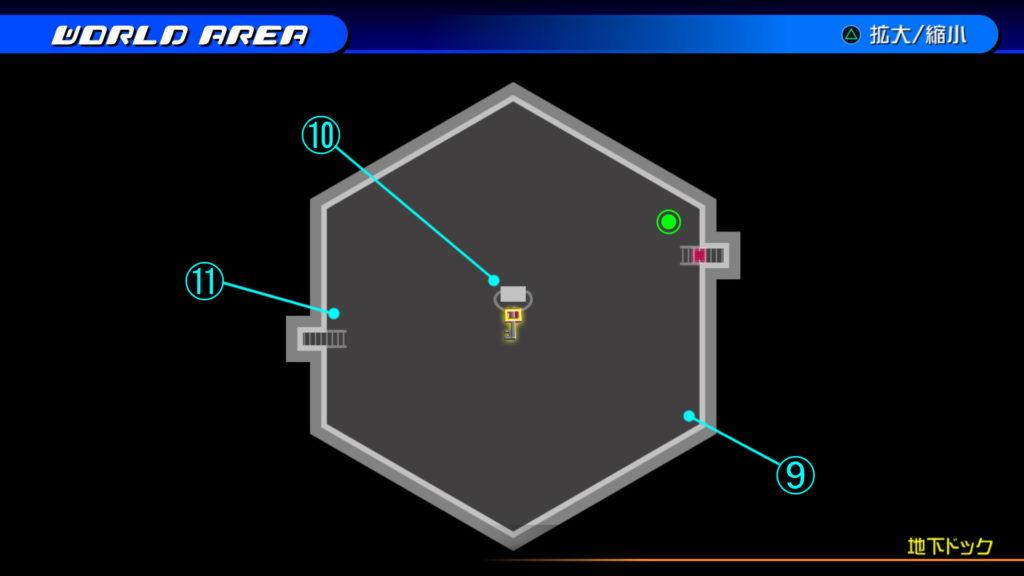 キングダムハーツ3D(HD)のワールド『ザ・グリッド(地下ドック・下層)』で開けられるリク編の宝箱マップです。