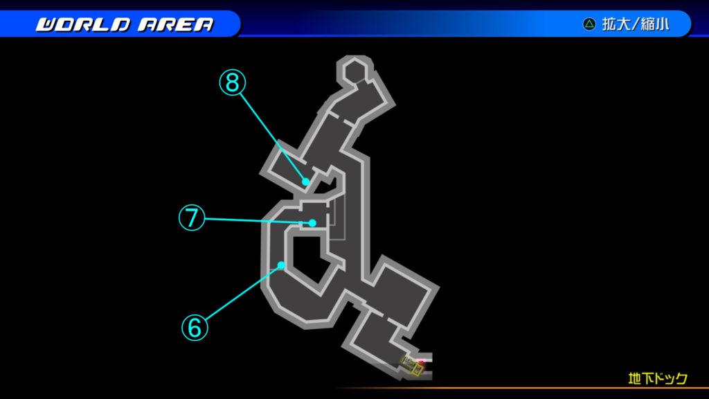 キングダムハーツ3D(HD)のワールド『ザ・グリッド(地下ドック・上層)』で開けられるリク編の宝箱マップです。