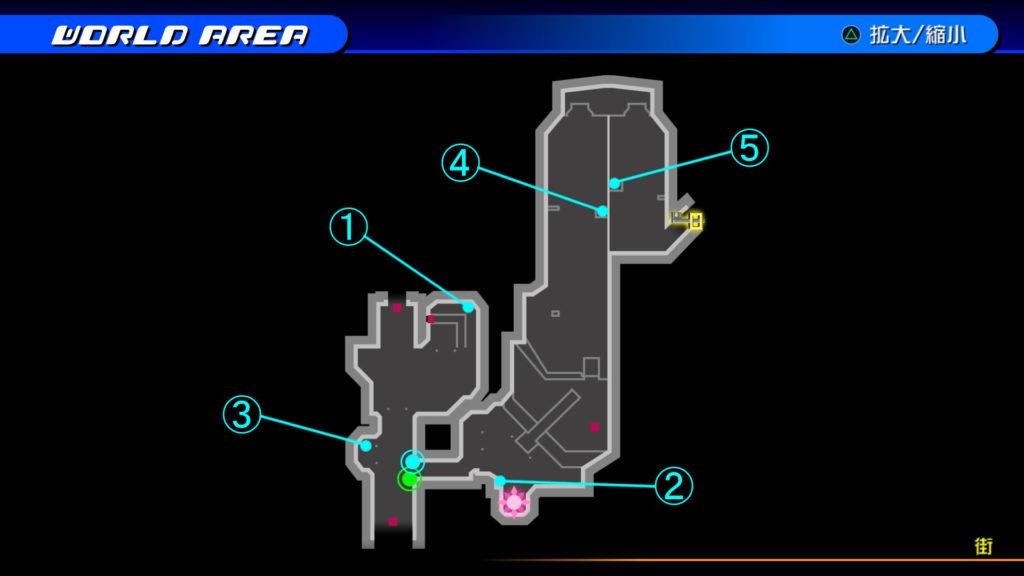 キングダムハーツ3D(HD)のワールド『ザ・グリッド(街)』で開けられるリク編の宝箱マップです。