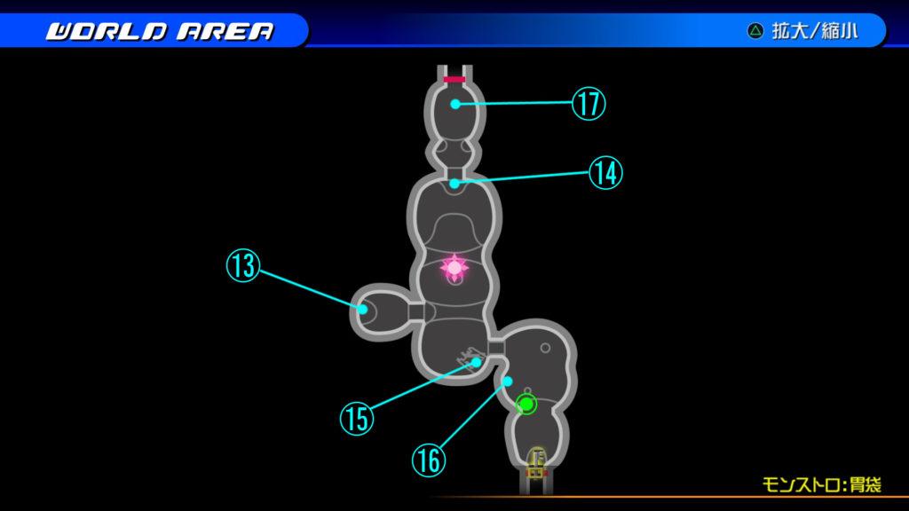 キングダムハーツ3D(HD)のワールド『プランクスターズ・パラダイス(モンストロ:胃袋)』で開けられるリク編の宝箱マップです。