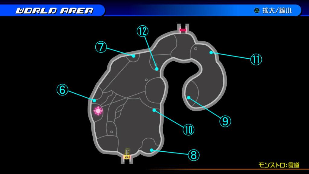 キングダムハーツ3D(HD)のワールド『プランクスターズ・パラダイス(モンストロ:食道)』で開けられるリク編の宝箱マップです。