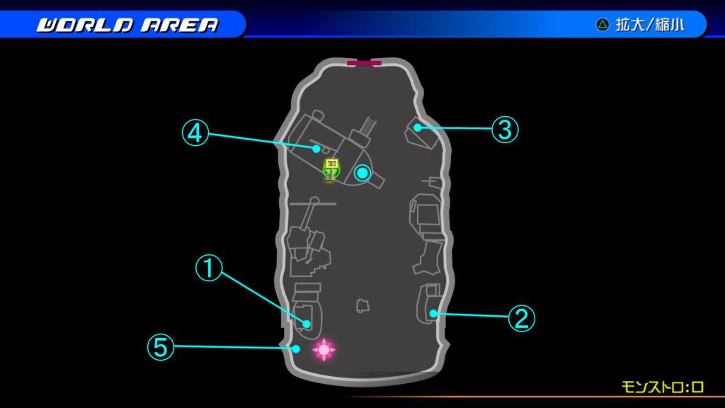 キングダムハーツ3D(HD)のワールド『プランクスターズ・パラダイス(モンストロ:口)』で開けられるリク編の宝箱マップです。