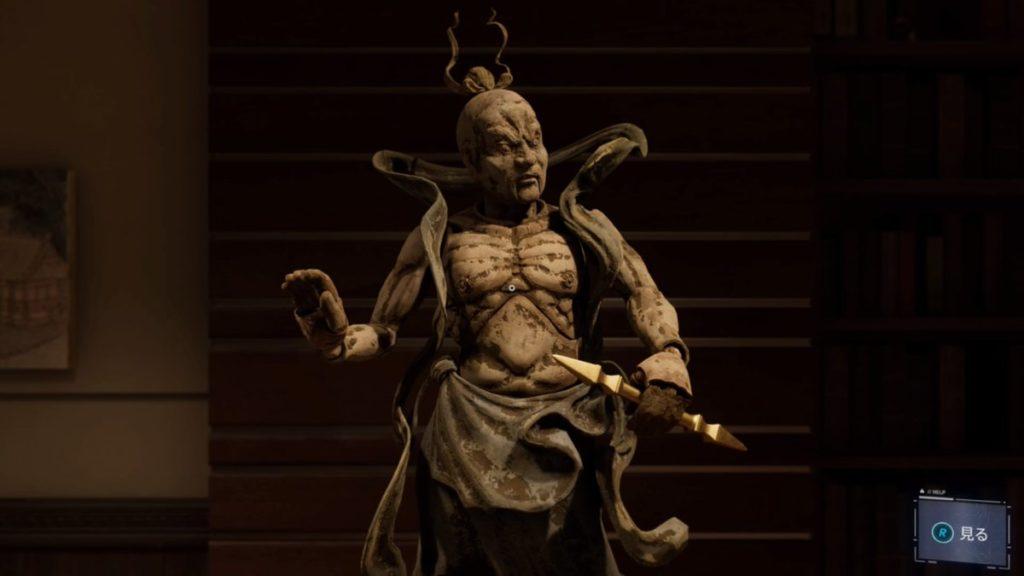 マーベル スパイダーマン(PS4)のメインミッション『危険なアート』の仁王像のイメージ画像です。