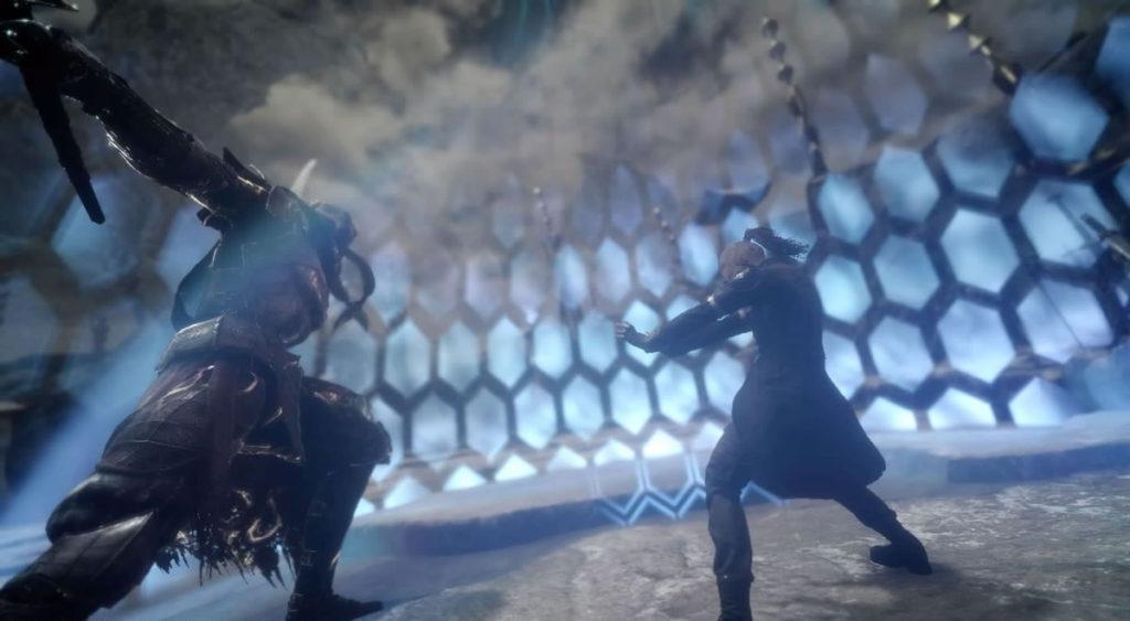 FF15で配信されたスタンドアローン版『戦友』のエクストラクエスト『剣聖 ギルガメッシュへの挑戦』のイメージ画像です。