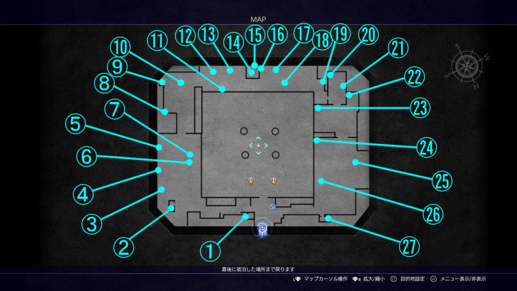 FF15のコラボクエスト『異世界の冒険者』で解放される『ペルプトゥース基地』の全体マップです。