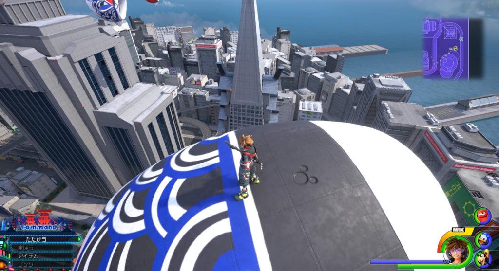 キングダムハーツ3(KH3)のワールド『サンフランソウキョウ』に設置されている幸運のマーク⑦です。