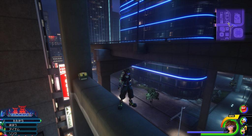 キングダムハーツ3(KH3)のワールド『サンフランソウキョウ』に設置されている宝物リスト(宝箱)のスターチャームです。