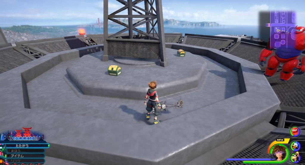 キングダムハーツ3(KH3)のワールド『サンフランソウキョウ』に設置されている宝物リスト(宝箱)のサンダガレットです。