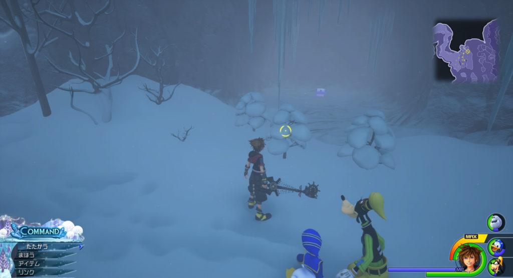 キングダムハーツ3(KH3)のワールド『アレンデール』に設置されている宝物リスト(宝箱)のシルバーアミュレットです。