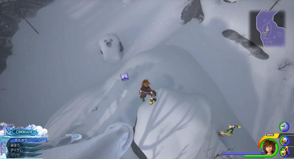 キングダムハーツ3(KH3)のワールド『アレンデール』に設置されている宝物リスト(宝箱)のスレイヤーピアスです。