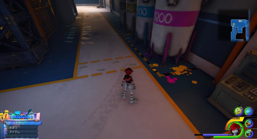キングダムハーツ3(KH3)のワールド『モンストロポリス』で発見可能な幸運のマーク⑥です。