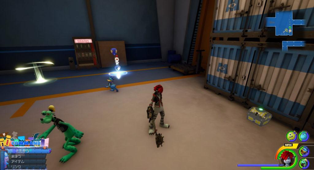キングダムハーツ3(KH3)のワールド『モンストロポリス』に設置されている宝物リスト(宝箱)のファイアマンロゼットです。