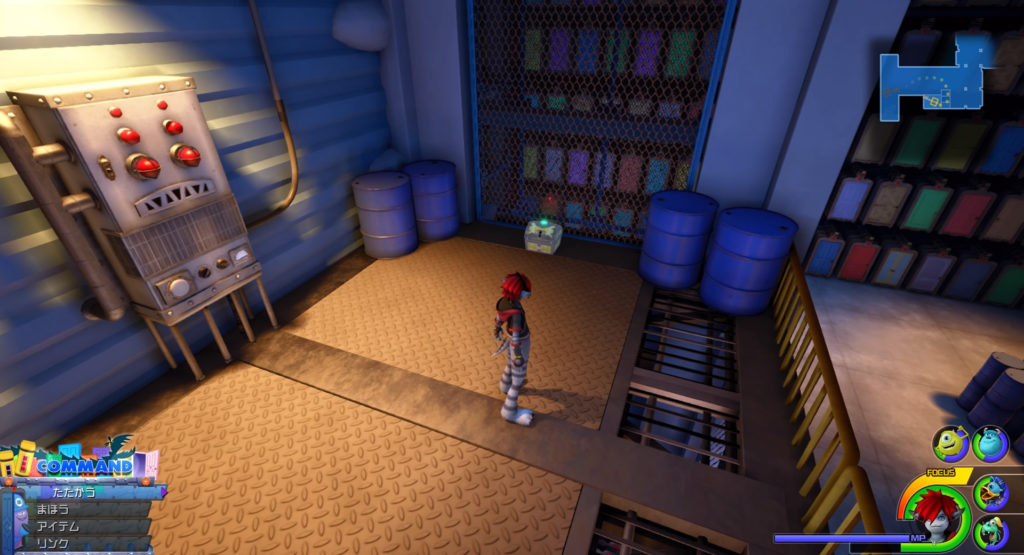 キングダムハーツ3(KH3)のワールド『モンストロポリス』に設置されている宝物リスト(宝箱)のスターシールド+です。