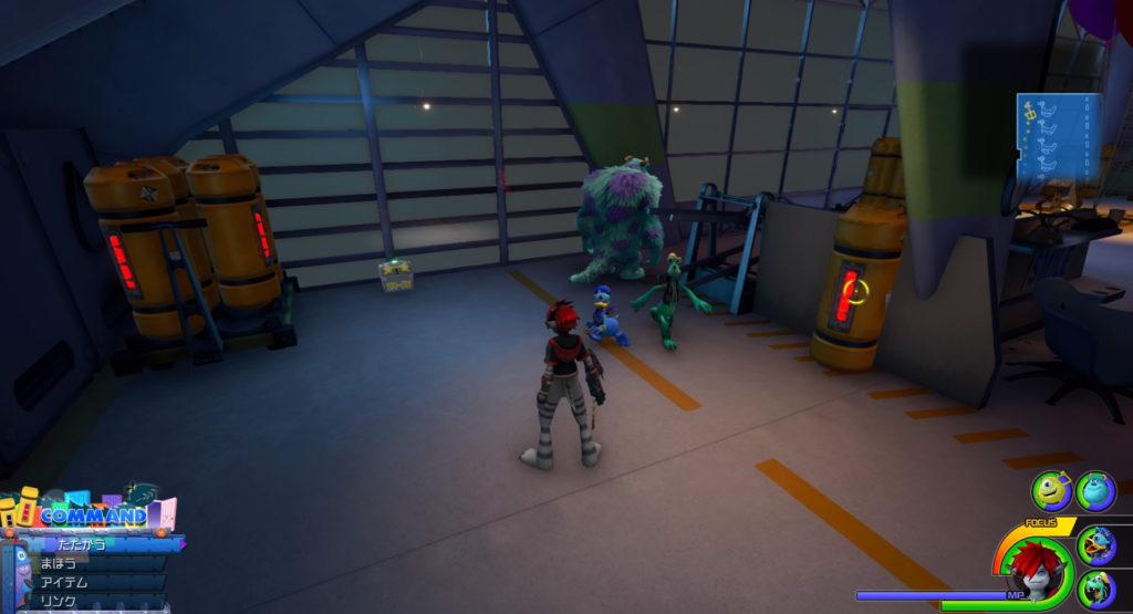 キングダムハーツ3(KH3)のワールド『モンストロポリス』に設置されている宝物リスト(宝箱)のフォーカスリカバーです。