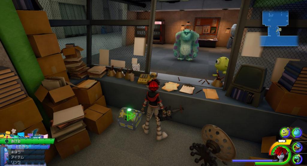 キングダムハーツ3(KH3)のワールド『モンストロポリス』に設置されている宝物リスト(宝箱)のテクニカルリング+です。