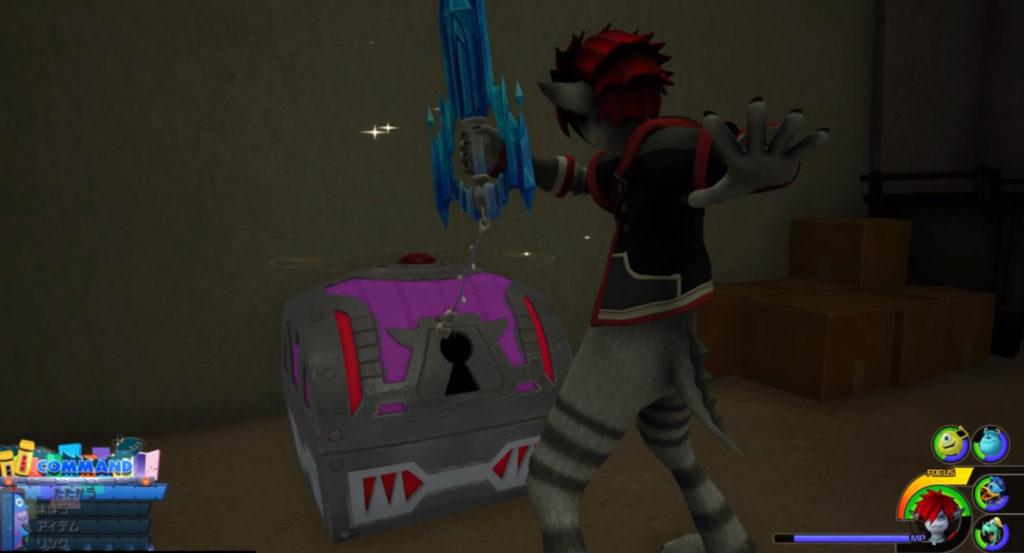 キングダムハーツ3(KH3)のワールド『モンストロポリス』に設置されている宝物リスト(宝箱)のイメージ画像です。