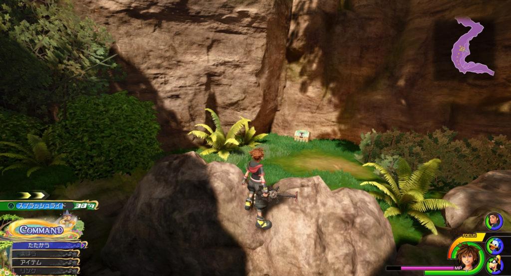 キングダムハーツ3(KH3)のワールド『キングダム・オブ・コロナ』に設置されている宝物リスト(宝箱)のダマスカス②です。